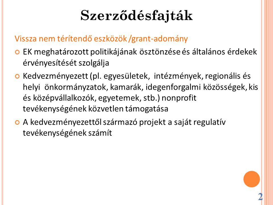 Vissza nem térítendő eszközök /grant-adomány EK meghatározott politikájának ösztönzése és általános érdekek érvényesítését szolgálja Kedvezményezett (pl.