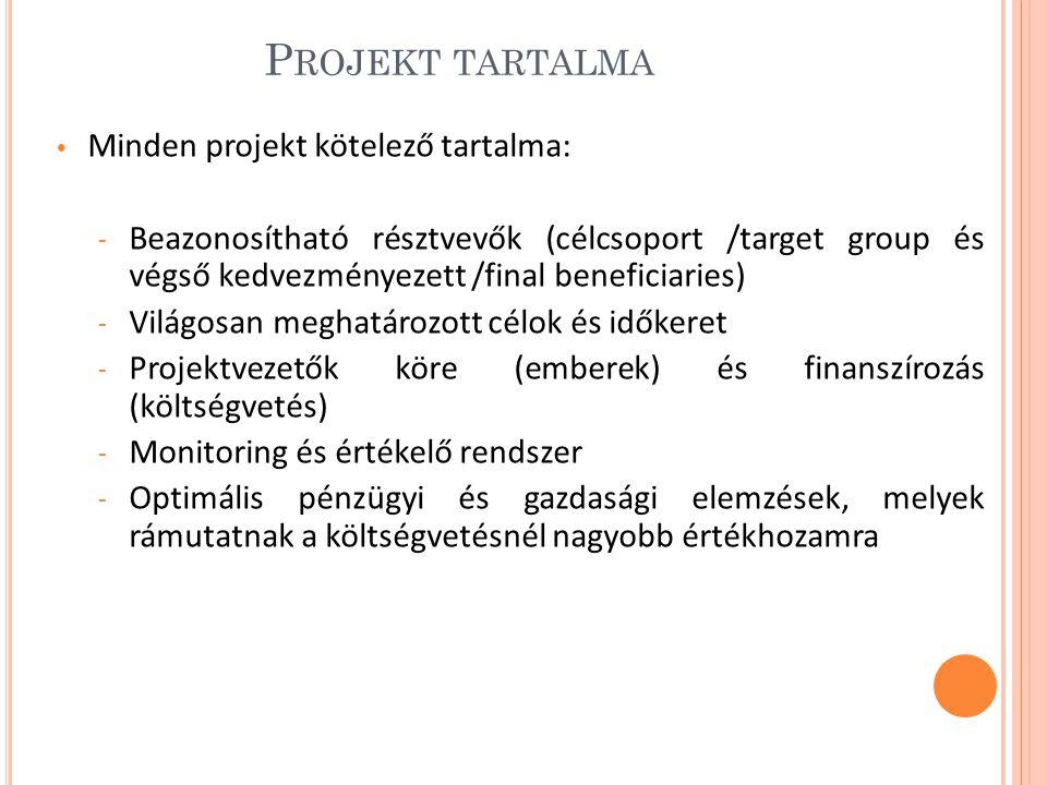 P ROJEKT TARTALMA Minden projekt kötelező tartalma: - Beazonosítható résztvevők (célcsoport /target group és végső kedvezményezett /final beneficiaries) - Világosan meghatározott célok és időkeret - Projektvezetők köre (emberek) és finanszírozás (költségvetés) - Monitoring és értékelő rendszer - Optimális pénzügyi és gazdasági elemzések, melyek rámutatnak a költségvetésnél nagyobb értékhozamra
