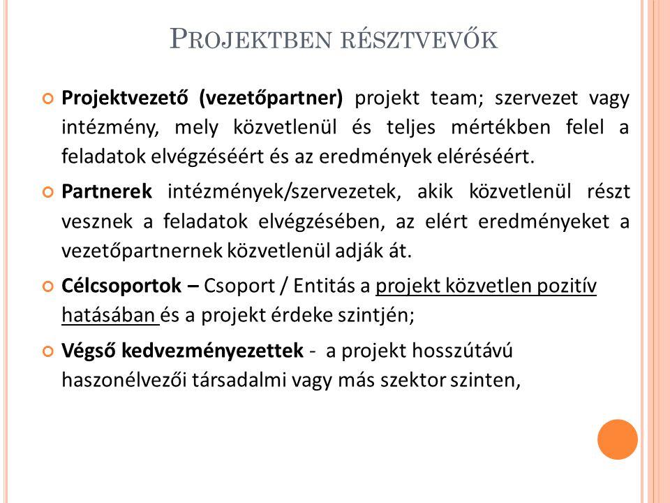 P ROJEKTBEN RÉSZTVEVŐK Projektvezető (vezetőpartner) projekt team; szervezet vagy intézmény, mely közvetlenül és teljes mértékben felel a feladatok elvégzéséért és az eredmények eléréséért.