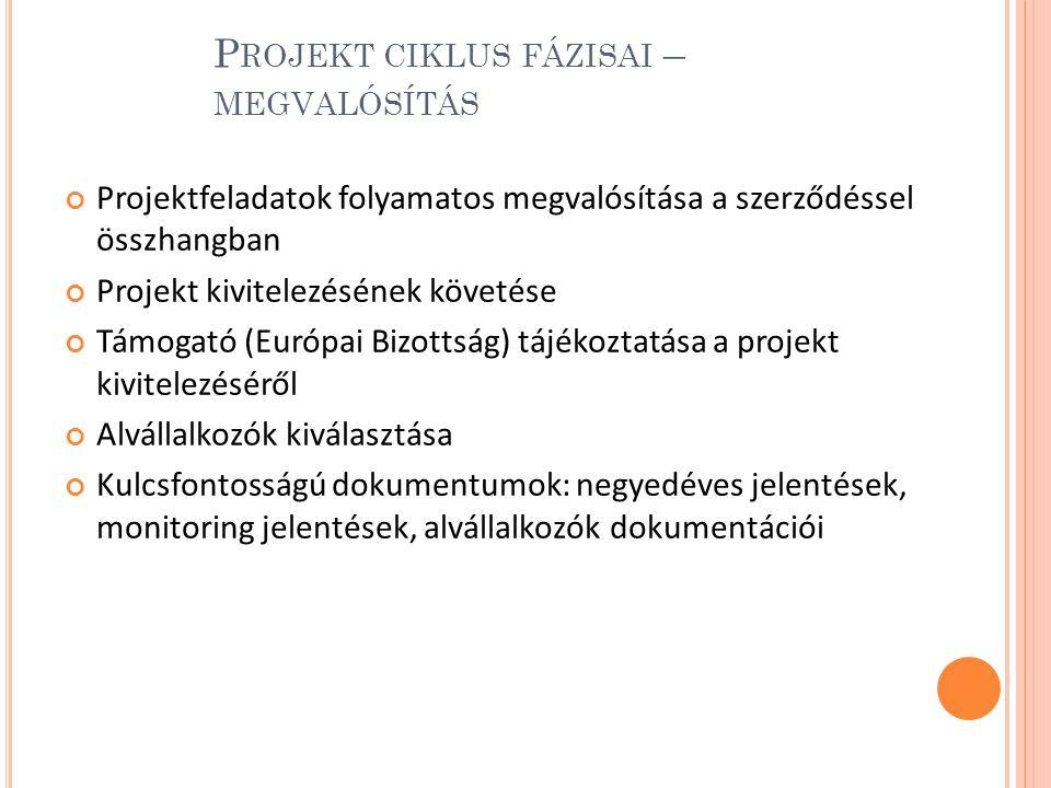 P ROJEKT CIKLUS FÁZISAI – MEGVALÓSÍTÁS Projektfeladatok folyamatos megvalósítása a szerződéssel összhangban Projekt kivitelezésének követése Támogató (Európai Bizottság) tájékoztatása a projekt kivitelezéséről Alvállalkozók kiválasztása Kulcsfontosságú dokumentumok: negyedéves jelentések, monitoring jelentések, alvállalkozók dokumentációi