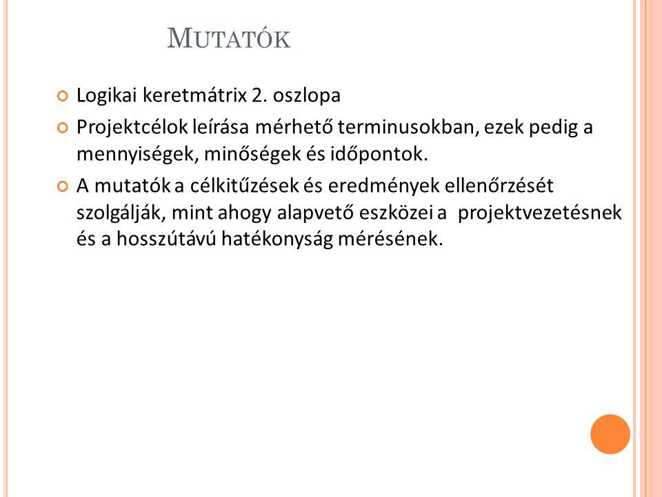 M UTATÓK Logikai keretmátrix 2.