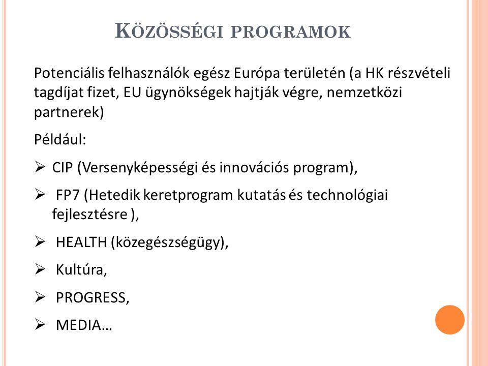 K ÖZÖSSÉGI PROGRAMOK Potenciális felhasználók egész Európa területén (a HK részvételi tagdíjat fizet, EU ügynökségek hajtják végre, nemzetközi partnerek) Például:  CIP (Versenyképességi és innovációs program),  FP7 (Hetedik keretprogram kutatás és technológiai fejlesztésre ),  HEALTH (közegészségügy),  Kultúra,  PROGRESS,  MEDIA…