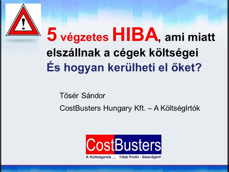 5 végzetes HIBA, ami miatt elszállnak a cégek költségei És hogyan kerülheti el őket? Tősér Sándor CostBusters Hungary Kft. – A KöltségIrtók
