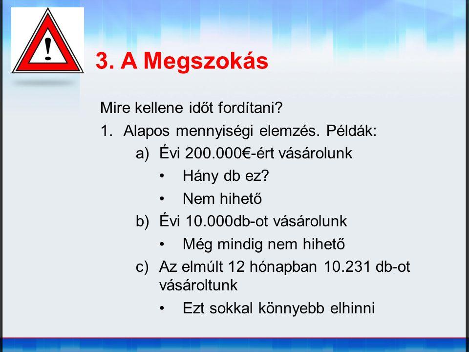 3. A Megszokás Mire kellene időt fordítani? 1.Alapos mennyiségi elemzés. Példák: a)Évi 200.000€-ért vásárolunk Hány db ez? Nem hihető b)Évi 10.000db-o