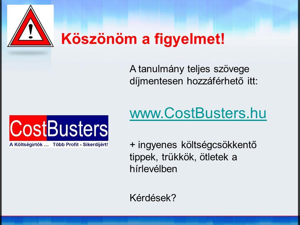 Köszönöm a figyelmet! A tanulmány teljes szövege díjmentesen hozzáférhető itt: www.CostBusters.hu + ingyenes költségcsökkentő tippek, trükkök, ötletek