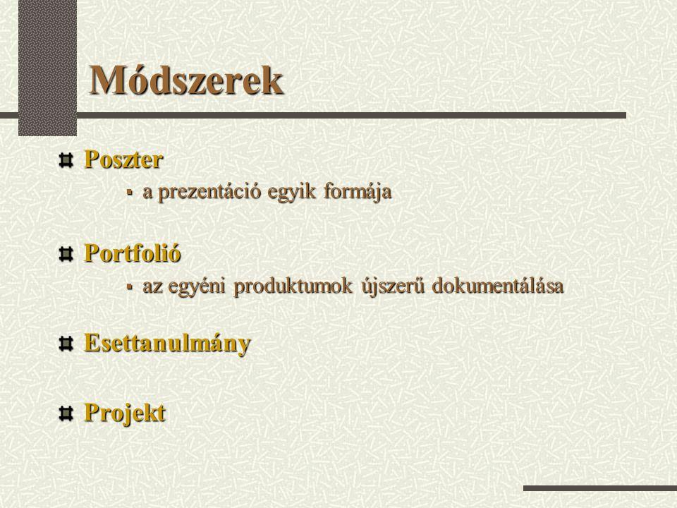 Módszerek Poszter  a prezentáció egyik formája Portfolió  az egyéni produktumok újszerű dokumentálása EsettanulmányProjekt