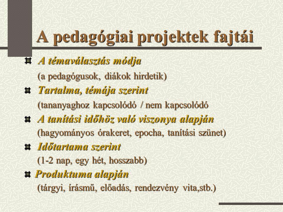 A pedagógiai projektek fajtái A témaválasztás módja (a pedagógusok, diákok hirdetik) (a pedagógusok, diákok hirdetik) Tartalma, témája szerint Tartalm