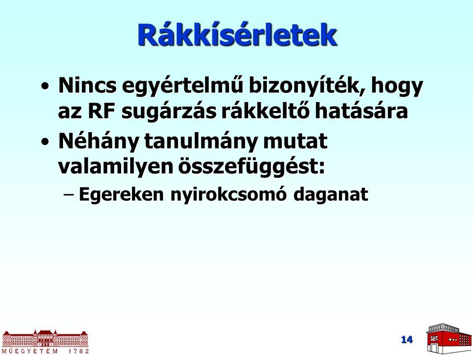 14 Rákkísérletek Nincs egyértelmű bizonyíték, hogy az RF sugárzás rákkeltő hatásáraNincs egyértelmű bizonyíték, hogy az RF sugárzás rákkeltő hatására