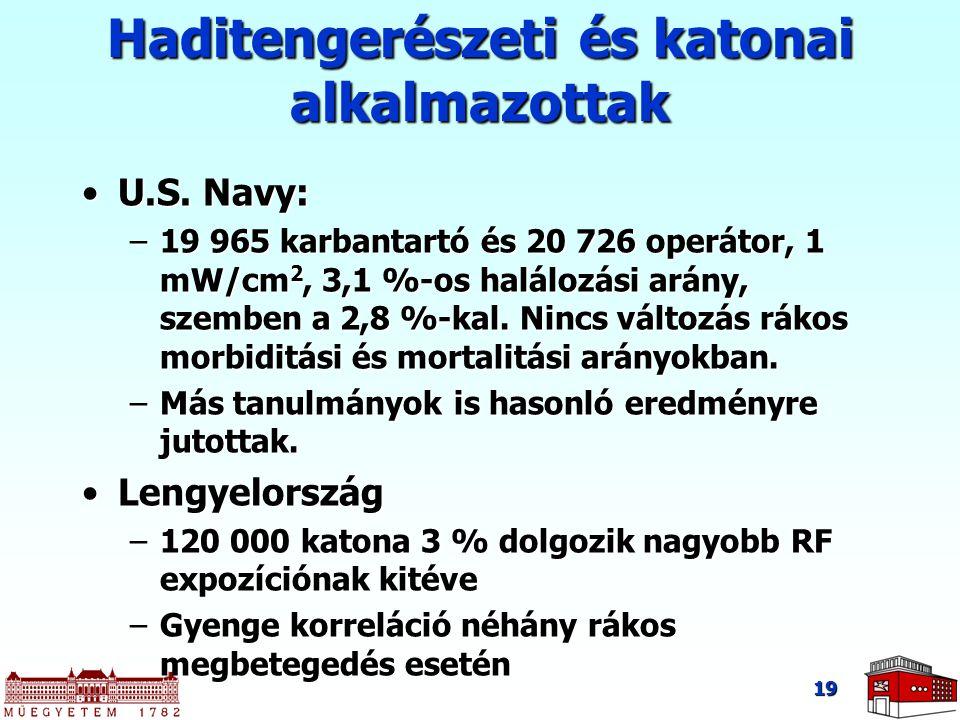 19 Haditengerészeti és katonai alkalmazottak U.S. Navy:U.S. Navy: –19 965 karbantartó és 20 726 operátor, 1 mW/cm 2, 3,1 %-os halálozási arány, szembe