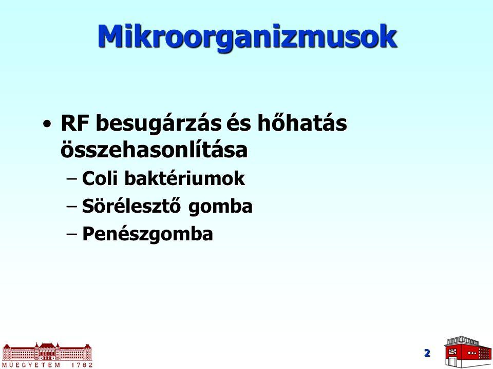 2 Mikroorganizmusok RF besugárzás és hőhatás összehasonlításaRF besugárzás és hőhatás összehasonlítása –Coli baktériumok –Sörélesztő gomba –Penészgomb