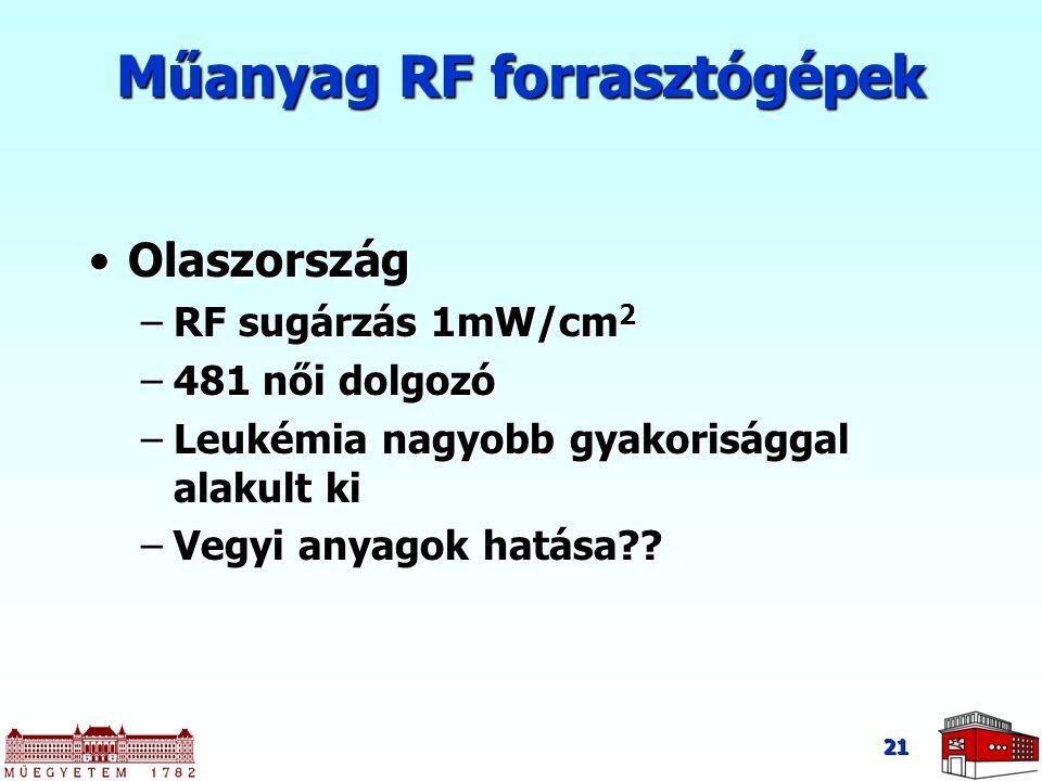 21 Műanyag RF forrasztógépek OlaszországOlaszország –RF sugárzás 1mW/cm 2 –481 női dolgozó –Leukémia nagyobb gyakorisággal alakult ki –Vegyi anyagok h