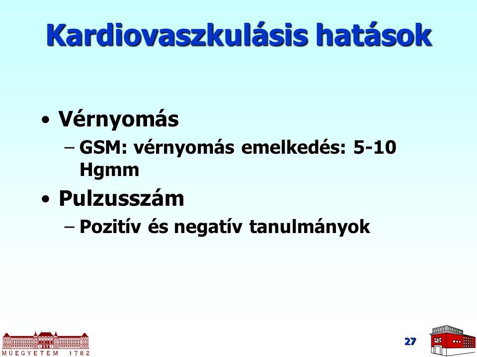 27 Kardiovaszkulásis hatások VérnyomásVérnyomás –GSM: vérnyomás emelkedés: 5-10 Hgmm PulzusszámPulzusszám –Pozitív és negatív tanulmányok