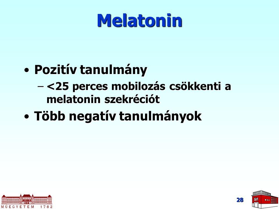 28 Melatonin Pozitív tanulmányPozitív tanulmány –<25 perces mobilozás csökkenti a melatonin szekréciót Több negatív tanulmányokTöbb negatív tanulmányo