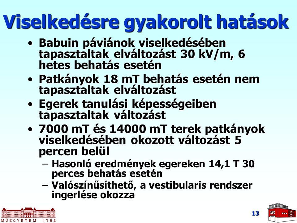 13 Viselkedésre gyakorolt hatások Babuin páviánok viselkedésében tapasztaltak elváltozást 30 kV/m, 6 hetes behatás eseténBabuin páviánok viselkedésébe