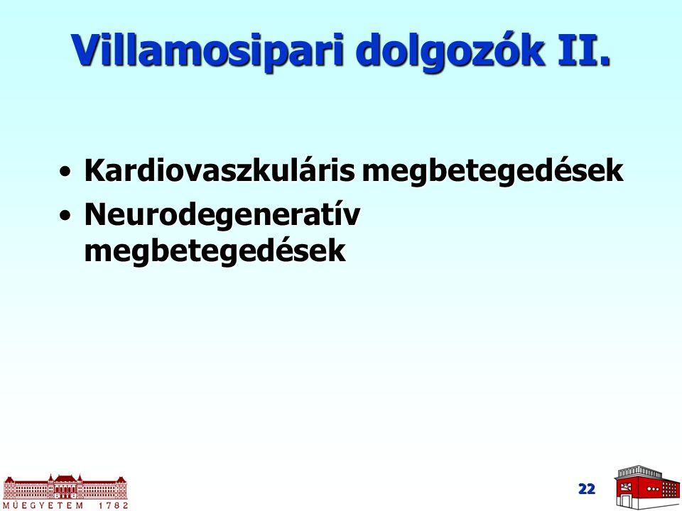 22 Villamosipari dolgozók II. Kardiovaszkuláris megbetegedésekKardiovaszkuláris megbetegedések Neurodegeneratív megbetegedésekNeurodegeneratív megbete