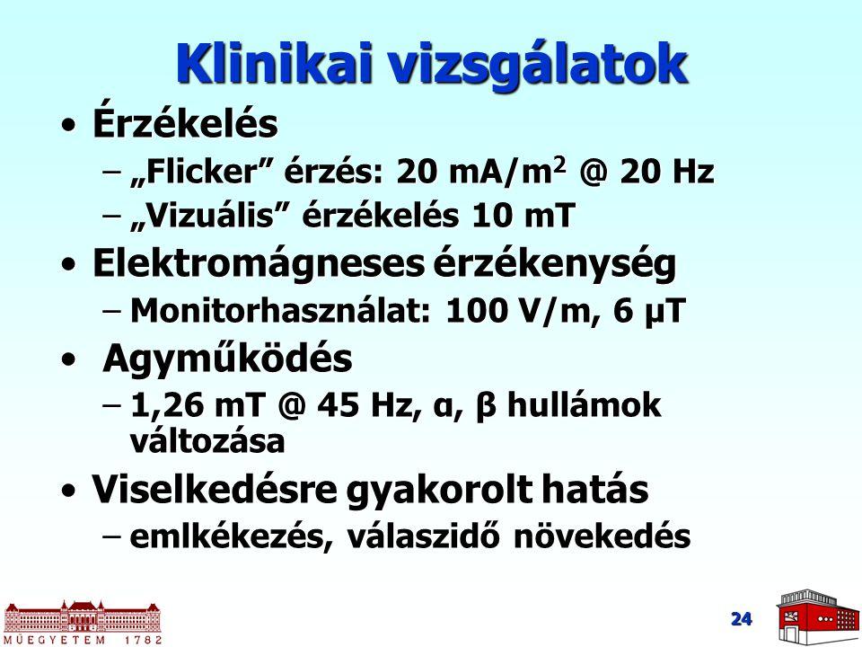 """24 Klinikai vizsgálatok ÉrzékelésÉrzékelés –""""Flicker"""" érzés: 20 mA/m 2 @ 20 Hz –""""Vizuális"""" érzékelés 10 mT Elektromágneses érzékenységElektromágneses"""