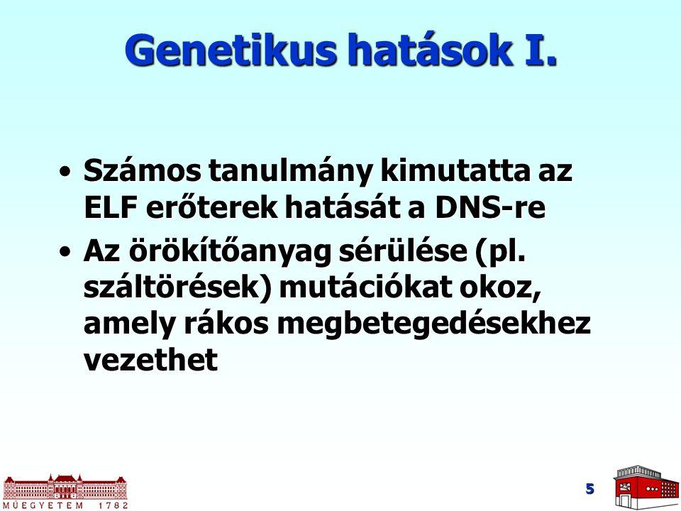 5 Genetikus hatások I. Számos tanulmány kimutatta az ELF erőterek hatását a DNS-reSzámos tanulmány kimutatta az ELF erőterek hatását a DNS-re Az örökí