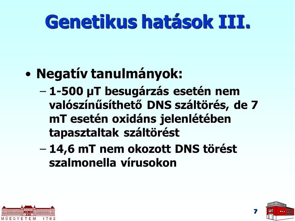 7 Genetikus hatások III. Negatív tanulmányok:Negatív tanulmányok: –1-500 μT besugárzás esetén nem valószínűsíthető DNS száltörés, de 7 mT esetén oxidá