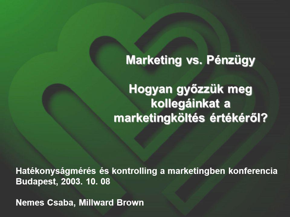 Millward Brown - röviden Nemzetközi marketingkutató cég, amely a reklám és márkaérték kutatásokra specializálódott  37 iroda 21 országban  Árbevétel meghaladja a 400 millió Eurot, melyhez Magyarország hozzájárulása 3.5 millió  Legnagyobb reklám és márkáérték kutatási tapasztalattal rendelkezünk  Legnagyobb Magyarországon az ügyfélspecifikus fogyasztói kutatásokat tekintve  Legnagyobb növekedést mutató cég Közép-Kelet Európában  Ügyfeleink: Pepsi, Danone, Unilever, Raiffeisen Bank, Vodafone, Kraft stb.