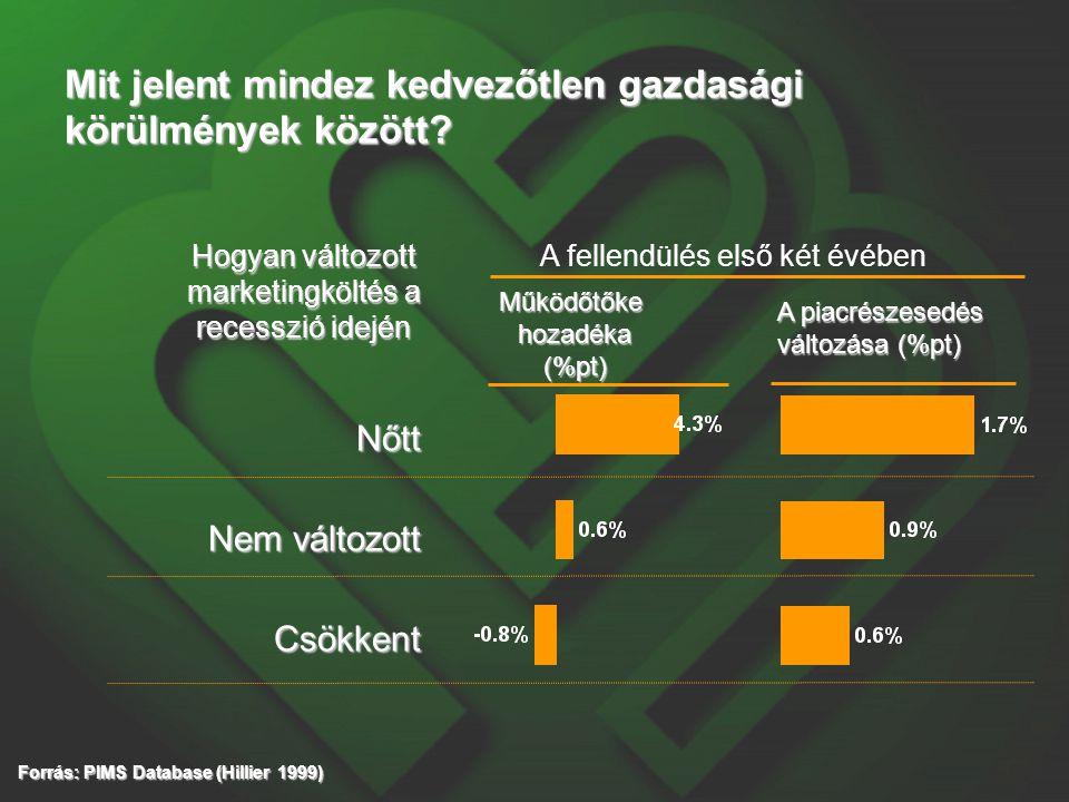 Mit jelent mindez kedvezőtlen gazdasági körülmények között? Nőtt Nem változott Csökkent Működőtőkehozadéka(%pt) A piacrészesedés változása (%pt) Forrá