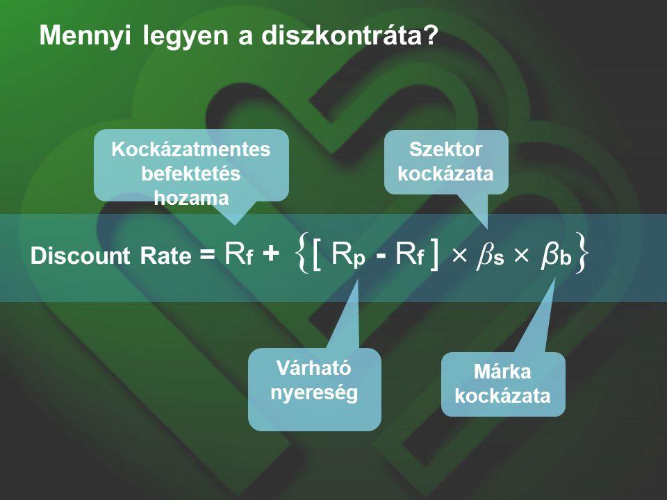 Mennyi legyen a diszkontráta? Discount Rate = R f + { [ R p - R f ]  β s  β b } Kockázatmentes befektetés hozama Várható nyereség Szektor kockázata
