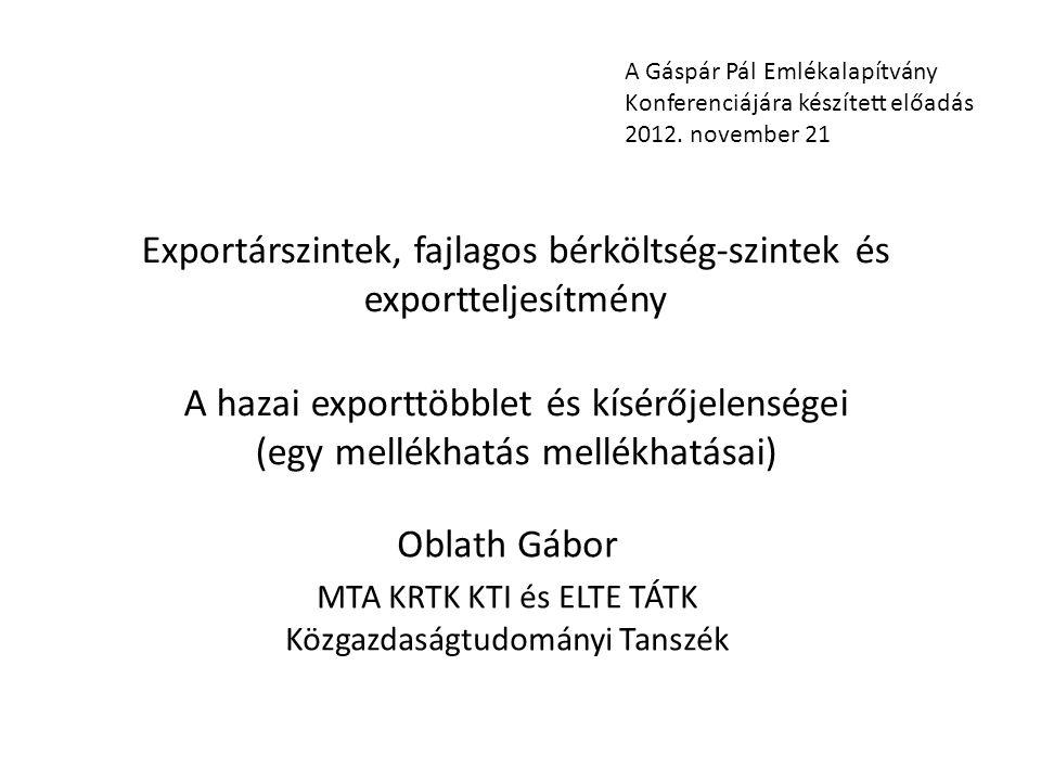 Exportárszintek, fajlagos bérköltség-szintek és exportteljesítmény A hazai exporttöbblet és kísérőjelenségei (egy mellékhatás mellékhatásai) Oblath Gá