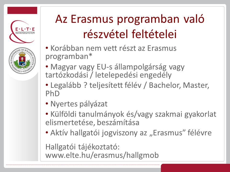 az Erasmus hallgatókat mindazok a jogok megilletik, amik a fogadó egyetem saját hallgatóit megilletik (+kötelezettségek) tandíjmentesség mentesülnek az egyéb díjak fizetési kötelezettsége alól (pl.