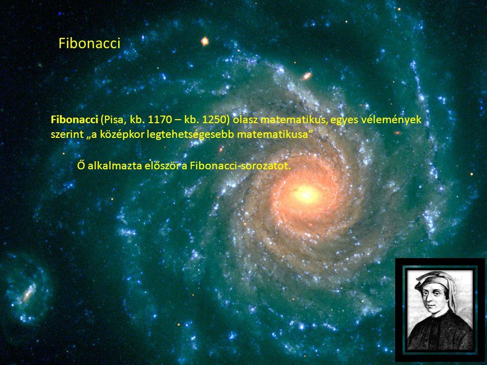"""Fibonacci Fibonacci (Pisa, kb. 1170 – kb. 1250) olasz matematikus, egyes vélemények szerint """"a középkor legtehetségesebb matematikusa"""" Ő alkalmazta el"""