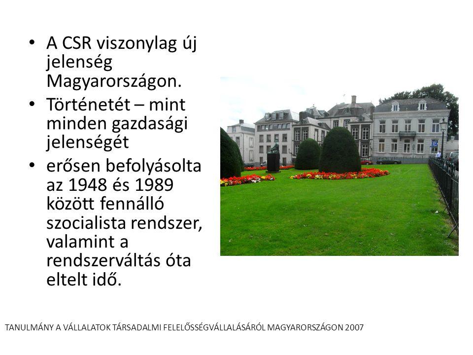 A CSR viszonylag új jelenség Magyarországon. Történetét – mint minden gazdasági jelenségét erősen befolyásolta az 1948 és 1989 között fennálló szocial