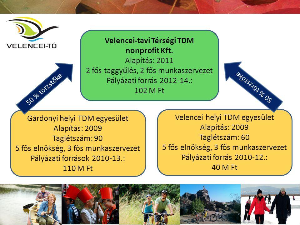 Gárdonyi helyi TDM egyesület Alapítás: 2009 Taglétszám: 90 5 fős elnökség, 3 fős munkaszervezet Pályázati források 2010-13.: 110 M Ft Velencei helyi T
