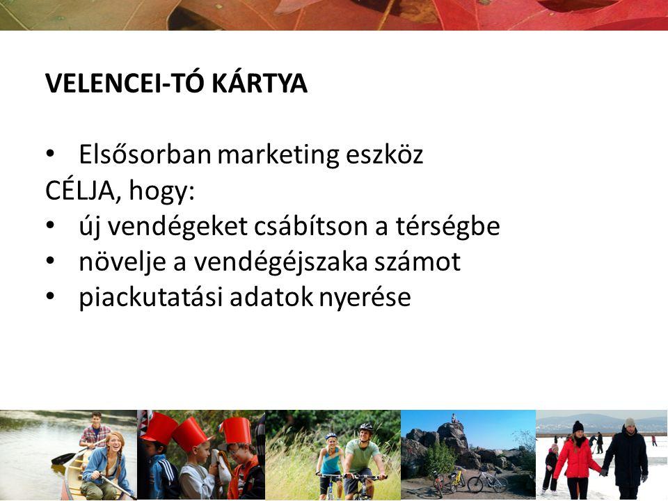 VELENCEI-TÓ KÁRTYA Elsősorban marketing eszköz CÉLJA, hogy: új vendégeket csábítson a térségbe növelje a vendégéjszaka számot piackutatási adatok nyer