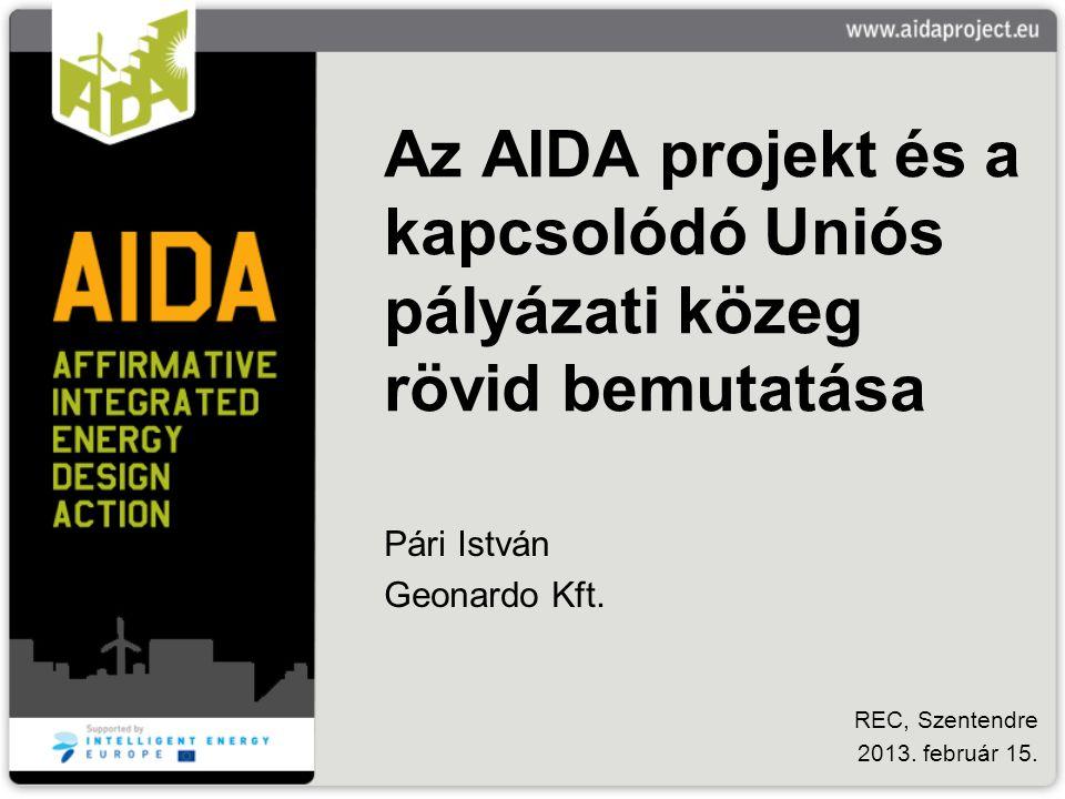 Az AIDA projekt és a kapcsolódó Uniós pályázati közeg rövid bemutatása Pári István Geonardo Kft. REC, Szentendre 2013. február 15.
