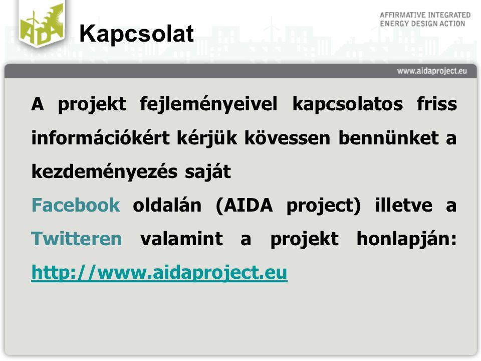Kapcsolat A projekt fejleményeivel kapcsolatos friss információkért kérjük kövessen bennünket a kezdeményezés saját Facebook oldalán (AIDA project) illetve a Twitteren valamint a projekt honlapján: http://www.aidaproject.eu http://www.aidaproject.eu