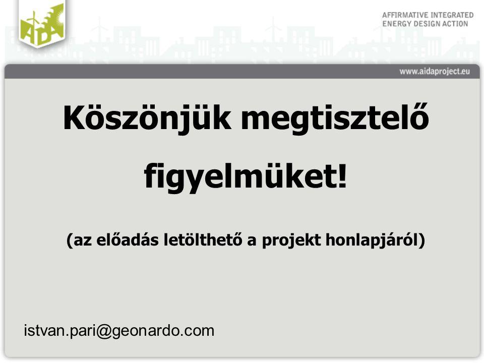 Köszönjük megtisztelő figyelmüket! (az előadás letölthető a projekt honlapjáról) istvan.pari@geonardo.com