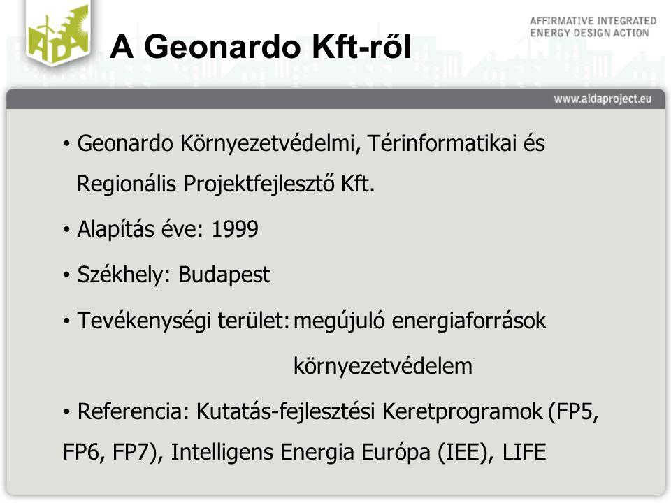 A Geonardo Kft-ről Geonardo Környezetvédelmi, Térinformatikai és Regionális Projektfejlesztő Kft. Alapítás éve: 1999 Székhely: Budapest Tevékenységi t