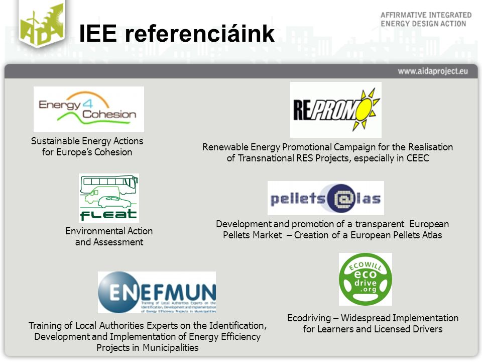 IEE referenciáink Development and promotion of a transparent European Pellets Market – Creation of a European Pellets Atlas Renewable Energy Promotional Campaign for the Realisation of Transnational RES Projects, especially in CEEC Training of Local Authorities Experts on the Identification, Development and Implementation of Energy Efficiency Projects in Municipalities Sustainable Energy Actions for Europe's Cohesion Ecodriving – Widespread Implementation for Learners and Licensed Drivers Environmental Action and Assessment
