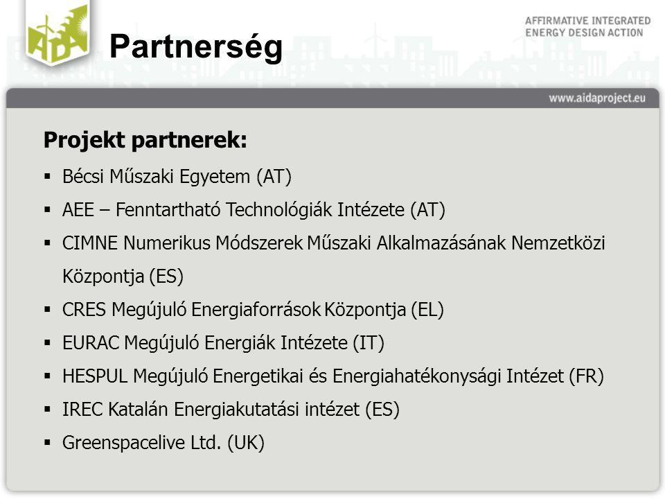 Partnerség Projekt partnerek:  Bécsi Műszaki Egyetem (AT)  AEE – Fenntartható Technológiák Intézete (AT)  CIMNE Numerikus Módszerek Műszaki Alkalmazásának Nemzetközi Központja (ES)  CRES Megújuló Energiaforrások Központja (EL)  EURAC Megújuló Energiák Intézete (IT)  HESPUL Megújuló Energetikai és Energiahatékonysági Intézet (FR)  IREC Katalán Energiakutatási intézet (ES)  Greenspacelive Ltd.
