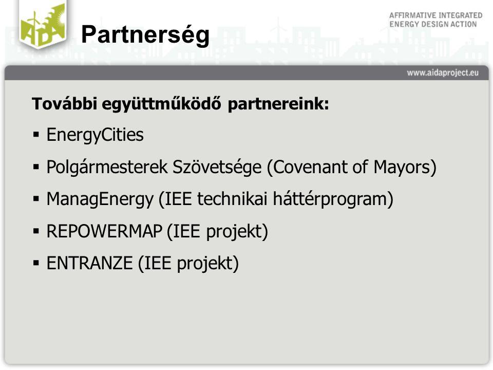 Partnerség További együttműködő partnereink:  EnergyCities  Polgármesterek Szövetsége (Covenant of Mayors)  ManagEnergy (IEE technikai háttérprogram)  REPOWERMAP (IEE projekt)  ENTRANZE (IEE projekt)