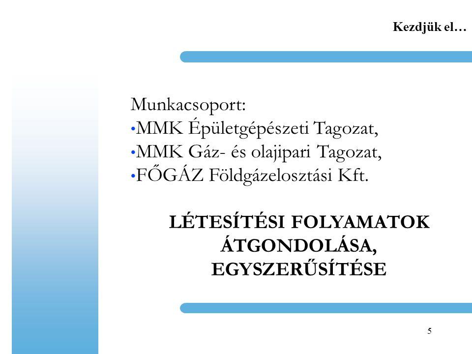 5 Kezdjük el… Munkacsoport: MMK Épületgépészeti Tagozat, MMK Gáz- és olajipari Tagozat, FŐGÁZ Földgázelosztási Kft.