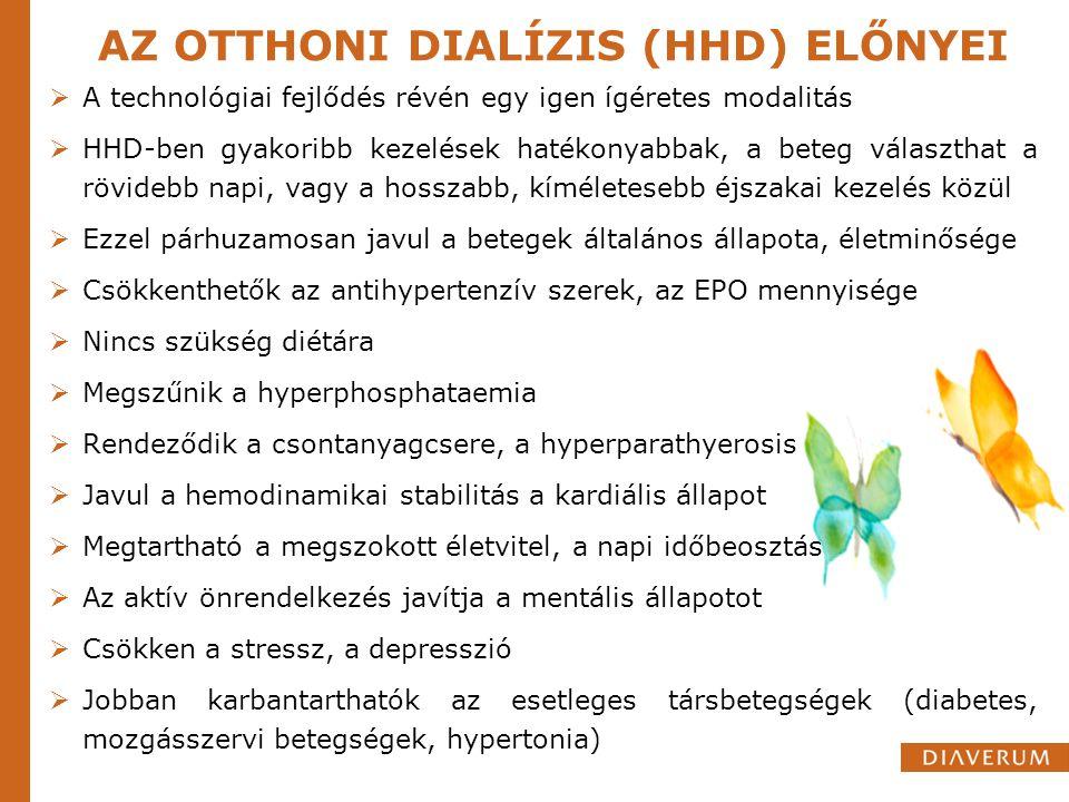AZ OTTHONI DIALÍZIS (HHD) ELŐNYEI  A technológiai fejlődés révén egy igen ígéretes modalitás  HHD-ben gyakoribb kezelések hatékonyabbak, a beteg vál