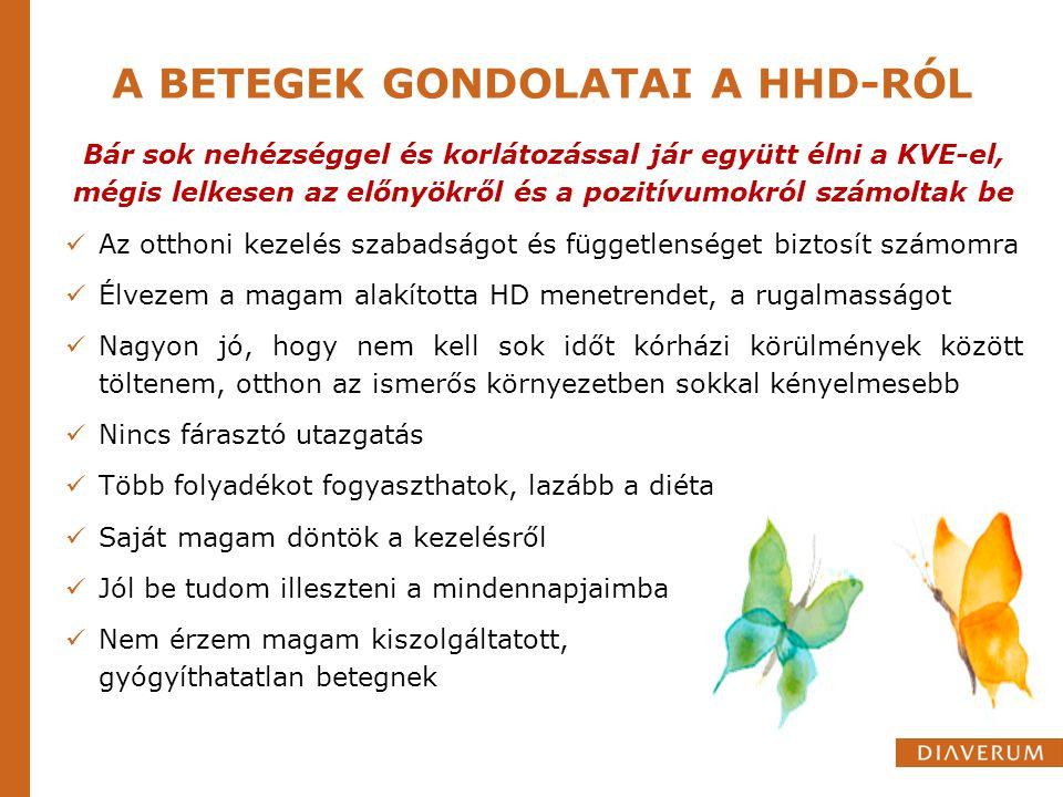 A BETEGEK GONDOLATAI A HHD-RÓL Bár sok nehézséggel és korlátozással jár együtt élni a KVE-el, mégis lelkesen az előnyökről és a pozitívumokról számolt