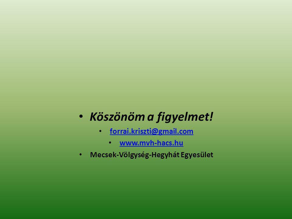 Köszönöm a figyelmet! forrai.kriszti@gmail.com www.mvh-hacs.hu Mecsek-Völgység-Hegyhát Egyesület