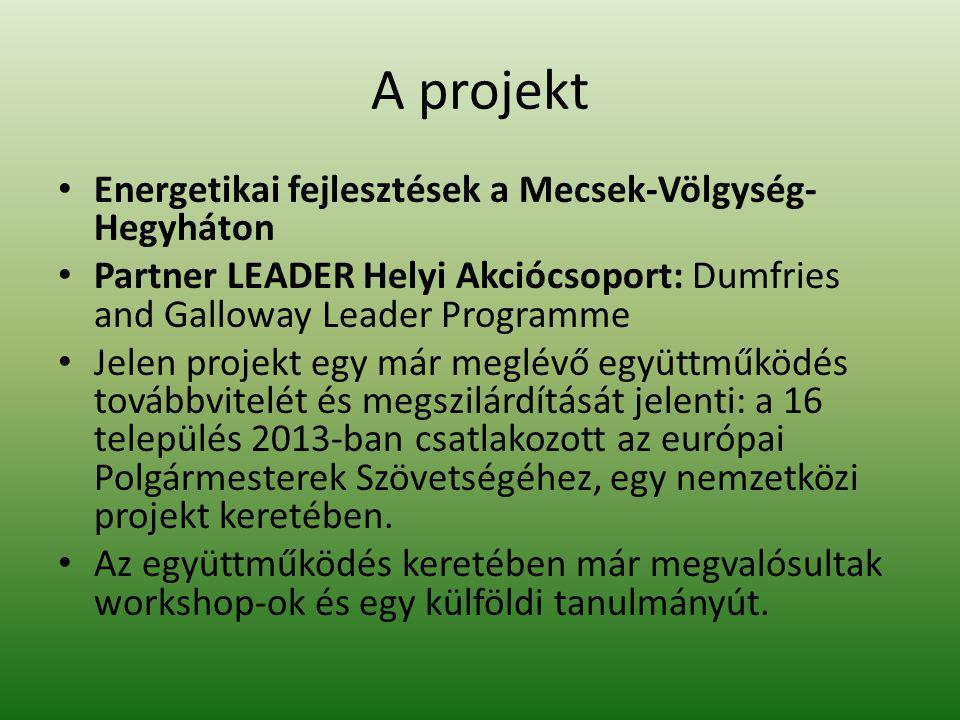 A projekt Energetikai fejlesztések a Mecsek-Völgység- Hegyháton Partner LEADER Helyi Akciócsoport: Dumfries and Galloway Leader Programme Jelen projek