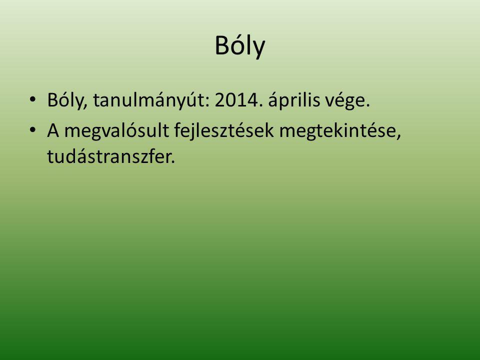 Bóly Bóly, tanulmányút: 2014. április vége. A megvalósult fejlesztések megtekintése, tudástranszfer.