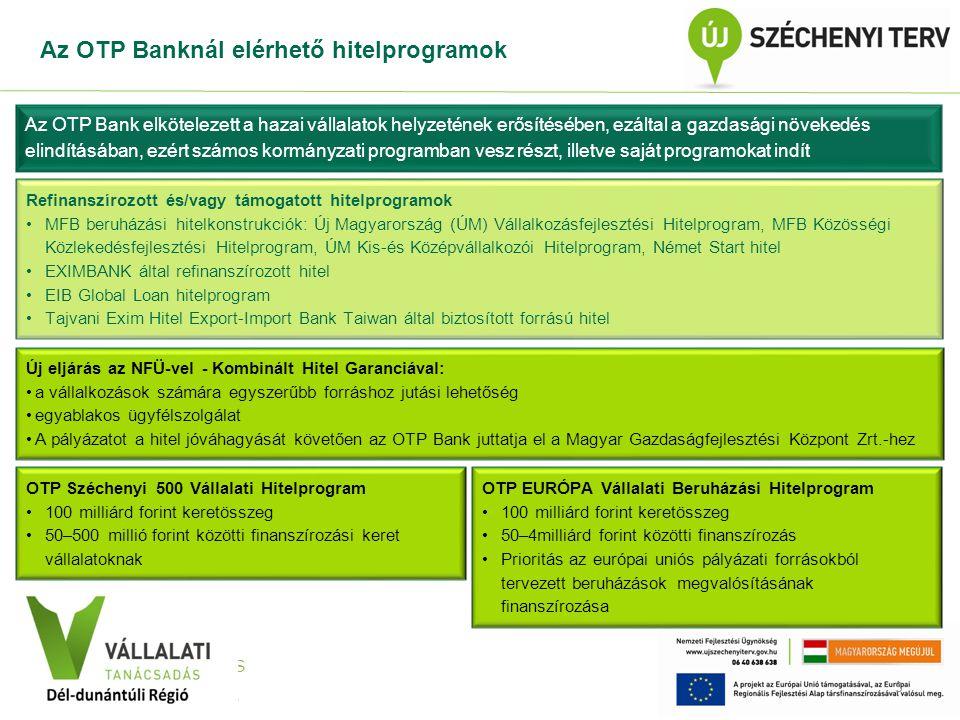 VÁLLALATI TANÁCSADÁS Közép-Dunántúli Régió Az OTP Banknál elérhető hitelprogramok 3 Az OTP Bank elkötelezett a hazai vállalatok helyzetének erősítésében, ezáltal a gazdasági növekedés elindításában, ezért számos kormányzati programban vesz részt, illetve saját programokat indít Refinanszírozott és/vagy támogatott hitelprogramok MFB beruházási hitelkonstrukciók: Új Magyarország (ÚM) Vállalkozásfejlesztési Hitelprogram, MFB Közösségi Közlekedésfejlesztési Hitelprogram, ÚM Kis-és Középvállalkozói Hitelprogram, Német Start hitel EXIMBANK által refinanszírozott hitel EIB Global Loan hitelprogram Tajvani Exim Hitel Export-Import Bank Taiwan által biztosított forrású hitel Új eljárás az NFÜ-vel - Kombinált Hitel Garanciával: a vállalkozások számára egyszerűbb forráshoz jutási lehetőség egyablakos ügyfélszolgálat A pályázatot a hitel jóváhagyását követően az OTP Bank juttatja el a Magyar Gazdaságfejlesztési Központ Zrt.-hez OTP Széchenyi 500 Vállalati Hitelprogram 100 milliárd forint keretösszeg 50–500 millió forint közötti finanszírozási keret vállalatoknak OTP EURÓPA Vállalati Beruházási Hitelprogram 100 milliárd forint keretösszeg 50–4milliárd forint közötti finanszírozás Prioritás az európai uniós pályázati forrásokból tervezett beruházások megvalósításának finanszírozása