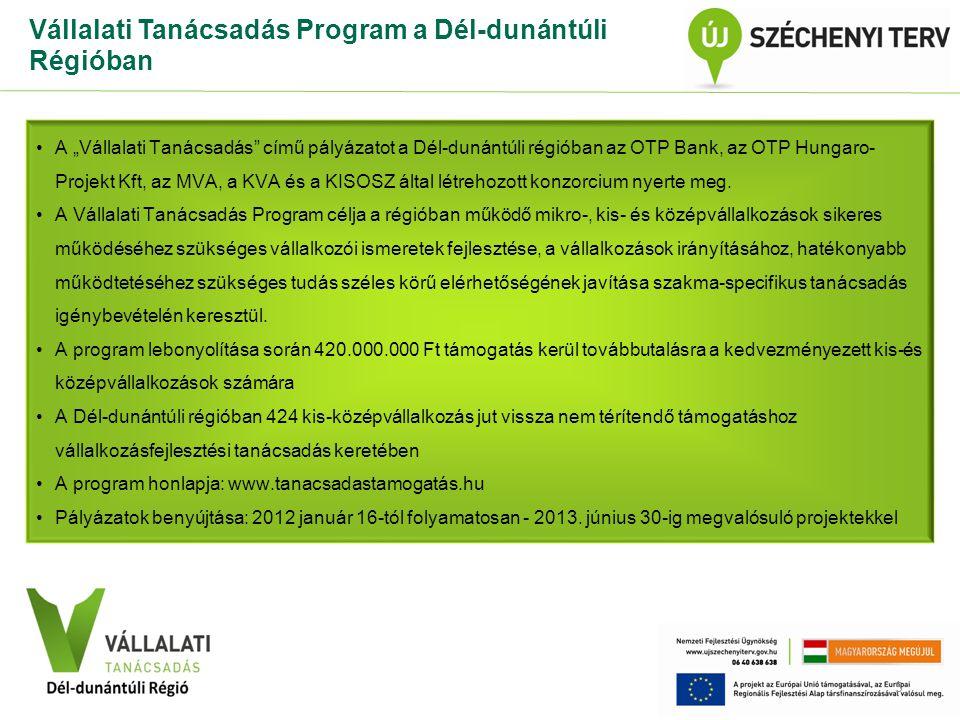 """VÁLLALATI TANÁCSADÁS Közép-Dunántúli Régió Vállalati Tanácsadás Program a Dél-dunántúli Régióban A """"Vállalati Tanácsadás című pályázatot a Dél-dunántúli régióban az OTP Bank, az OTP Hungaro- Projekt Kft, az MVA, a KVA és a KISOSZ által létrehozott konzorcium nyerte meg."""