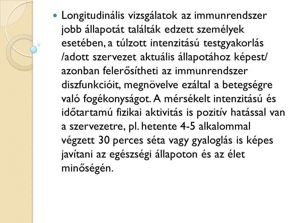 Longitudinális vizsgálatok az immunrendszer jobb állapotát találták edzett személyek esetében, a túlzott intenzitású testgyakorlás /adott szervezet ak