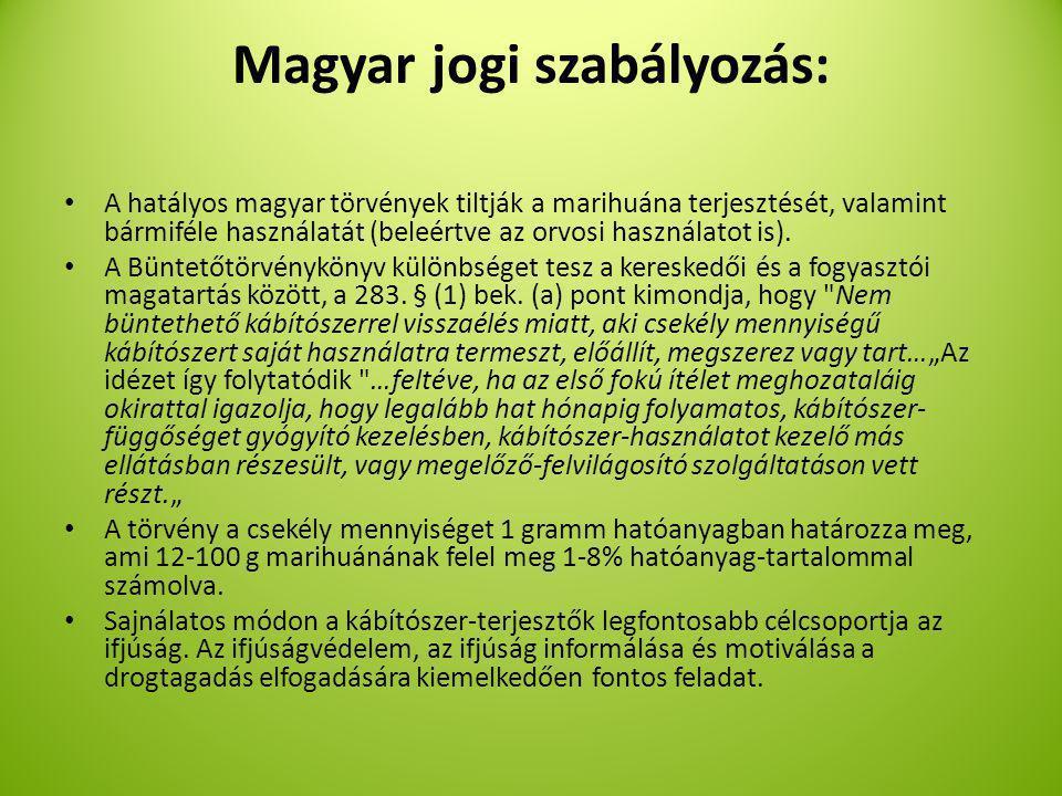 Magyar jogi szabályozás: A hatályos magyar törvények tiltják a marihuána terjesztését, valamint bármiféle használatát (beleértve az orvosi használatot is).