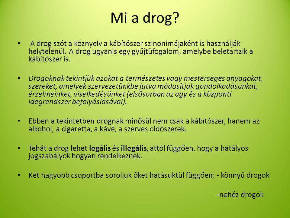 Mi a drog.A drog szót a köznyelv a kábítószer szinonimájaként is használják helytelenül.
