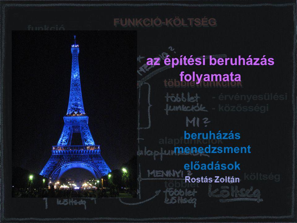beruházástervezés 22 Rostás Zoltán a modell előzményei - Kirk és Spreckelmeyer tervezési (döntési) modellje: 1.- Feasibility, 2.- Design, 3.- Construction, 4.- Occupancy.